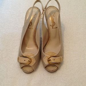 Authentic YSL linen/croc leather slingback heels