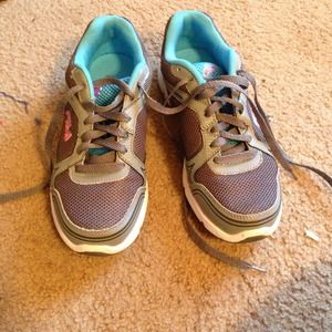 Brand new blue and gray running shoes