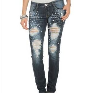 Pearl and rhinestone destroyed nwt jeans