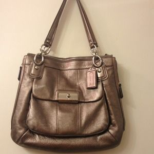 Coach Kristen metallic leather zip top zip tote