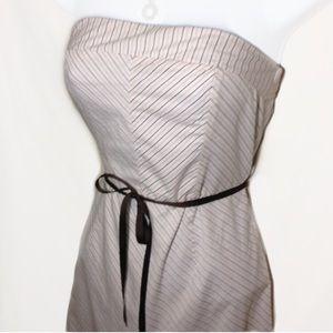 Strapless Cotton Dress Brown/Pink/White Belt