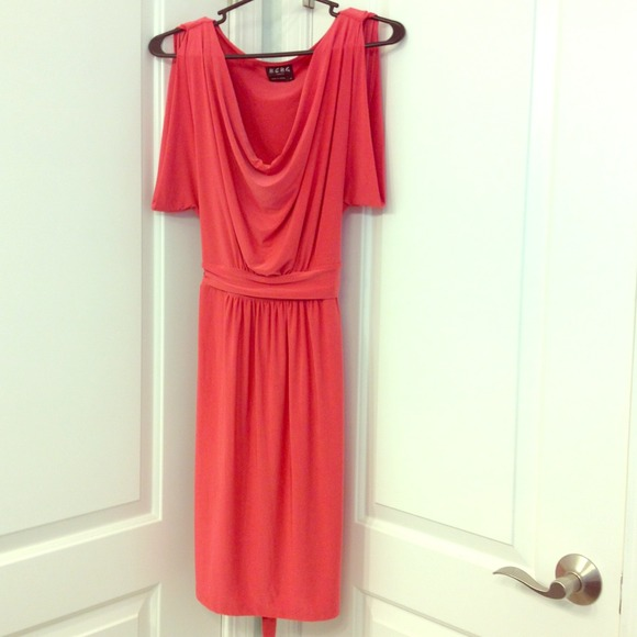 BCBG Dresses & Skirts - BCBG coral draped neck dress