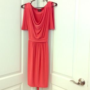 BCBG coral draped neck dress