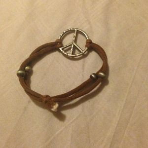 Jewelry - Brown cord peace bracelet