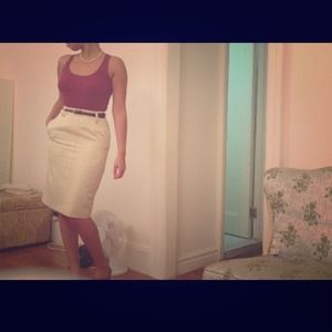 Vintage Cream Pencil Skirt