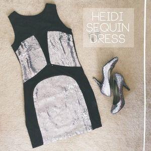 Black/Silver Nastygal Heidi Sequin Dress