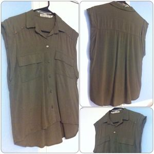 Tops - Olive Cuffed Sleeve Top