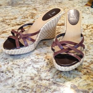 LIKE NEW  Straw/ Leather Brown Wedge by Baker