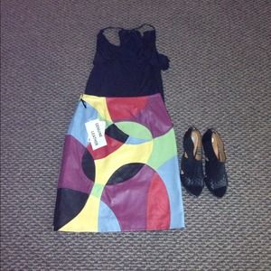 Vintage style colorful leather pencil skirt