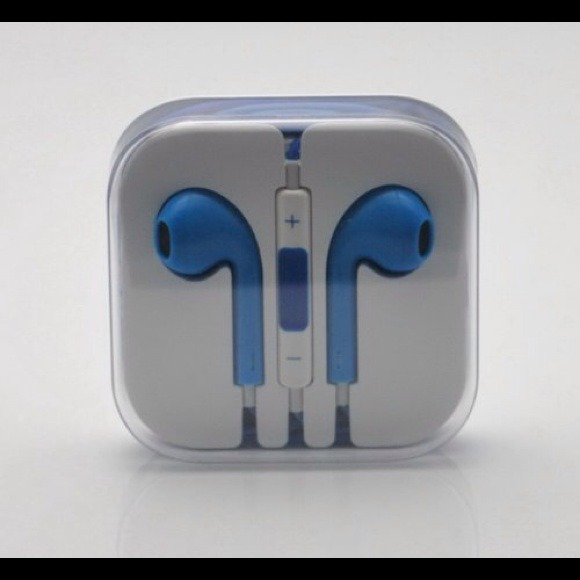 Blue Apple earbuds with mic & remote