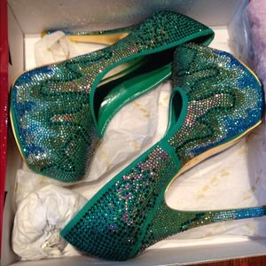 Beautiful Multi-Color Crystal Platform Heel