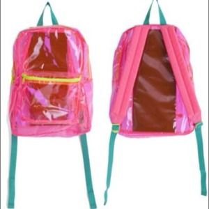 American Apparel Handbags - American Apparel Clear Neon Pink Backpack