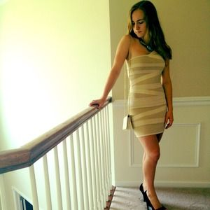 bebe Dresses & Skirts - Gold beige dress