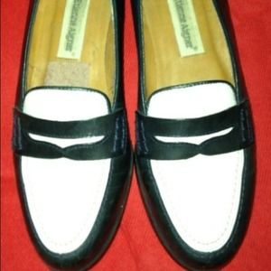 Black/White Leather Loafers