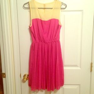 Everly Yellow and Pink Pleated Dress - Never Worn