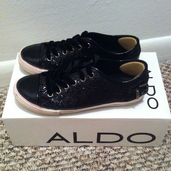 Aldo Shoes Black Glitter Sneaker Poshmark