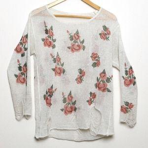 White Pullover Knitwear Long Sleeve Sweater