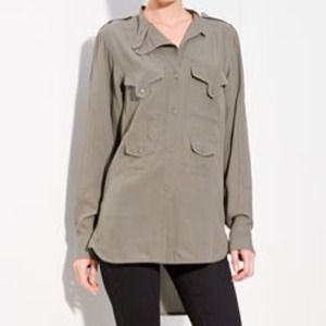 HOST PICK Alexander Wang Grey Silk Shirt 6 NWT