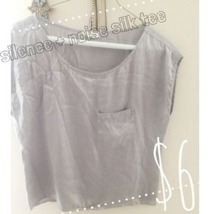 Silence + Noise Urban Outfitters Silver Silky Tee