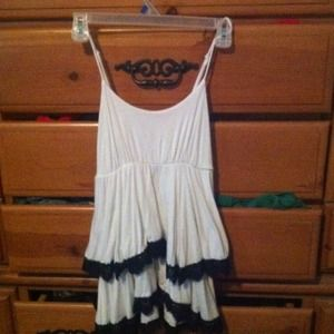 Cute white top with black lace lace tiers