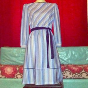Dresses & Skirts - ON HOLD Vintage 70s grey & blue secretary dress