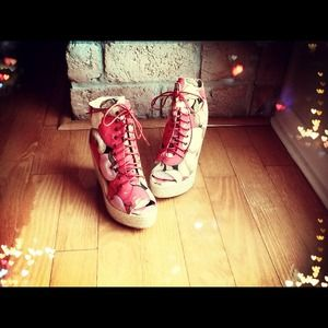 EGO and GREED Boots - Pink Floral Fruit & Feline Laced-Up Wedge Booties