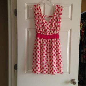 NWT. Pink Owl Apparel. Cute cream & hot pink dress