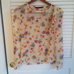 Zara blouse with one ruffle shoulder