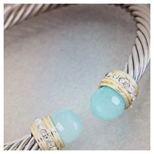 Jewelry - Cable bracelet with aqua stone