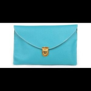 Aqua Envelope Clutch