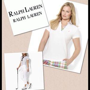 Lauren Ralph Lauren Short-Sleeve Plaid-Trim Polo