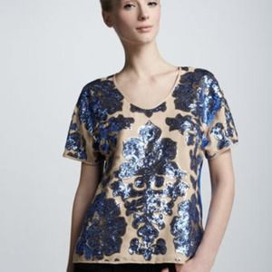 Tops - NWT Tracy Reece Sequin Top Blouse Shirt Blue Gold
