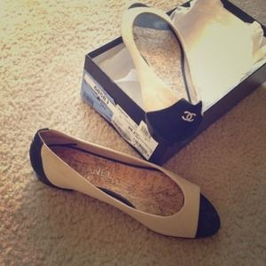 CHANEL Shoes - 100% Authentic Chanel Peep-Toe Flats