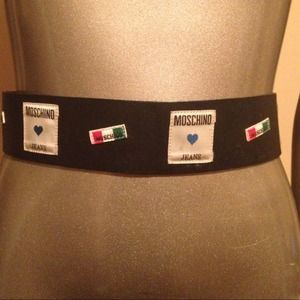 Moschino logo belt red wall designer glam chic