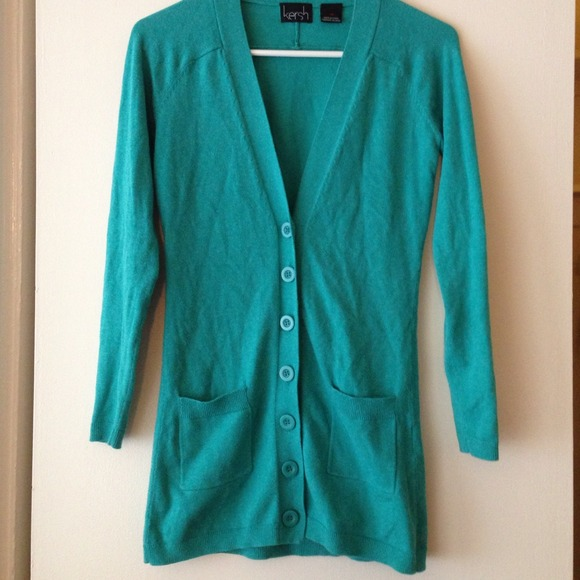 76% off kersh Sweaters - long teal cardigan from Julia's closet on ...