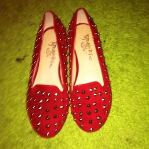 traffic Shoes - Red studded flats