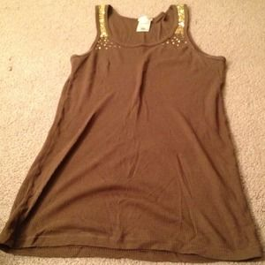 💢REDUCED AGAIN💢 Brown tank with gold sequins