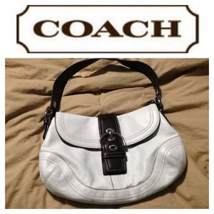 ⭐SALE⭐Authentic White with brown leather Coach bag