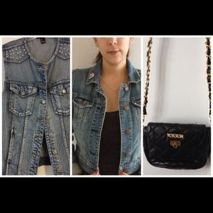 Bundle: jean jacket, vest and xbody bag