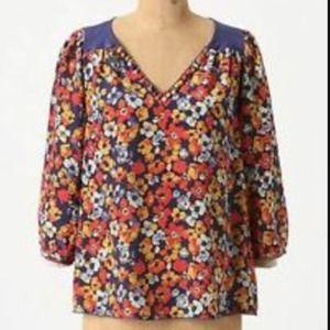 Anthropologie silk  print blouse.