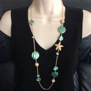 Jewelry - Sea Green Starfish beaded beach theme necklace