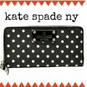 Kate Spade Nylon Polka Dot Zip Around Wallet
