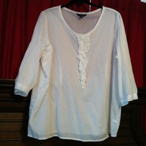 Lands' End Tops - White  100% Cotton 3/4th Length Sleeve Blouse