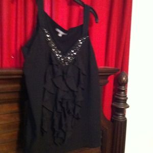 Tops - Black NY Collection Sequin & Ruffled Blouse