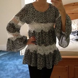 Adorable leopard lace ruffle tunic babydoll top