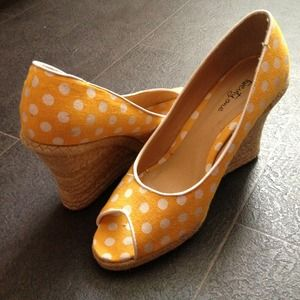 Forever 21 Shoes - Yellow & White Polka Dot Espadrilles