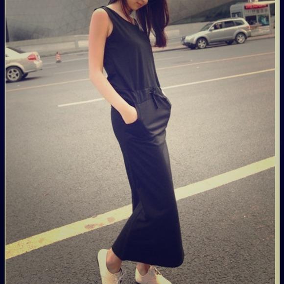 Dresses Drawstring Black Hooded Maxi Dress Poshmark
