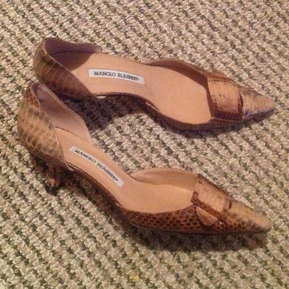61% off Manolo Blahnik Shoes - Manolo Blahnik Snakeskin Tan/Black ...