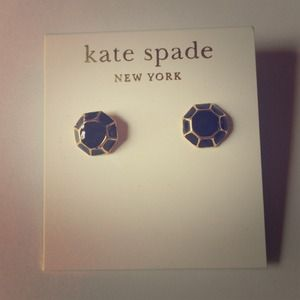 % Authentic Kate Spade Black &Gold Stud Earrings