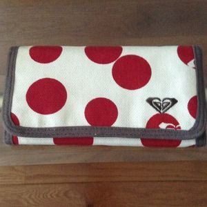 Roxy polka dot canvas wallet